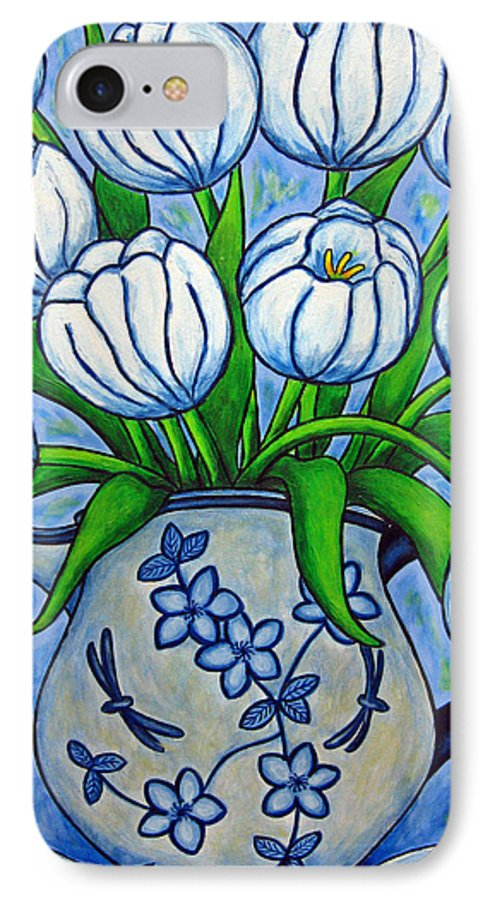Flower IPhone 7 Case featuring the painting Tulip Tranquility by Lisa Lorenz