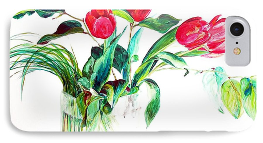 Flower IPhone 7 Case featuring the painting Tulipes by Muriel Dolemieux
