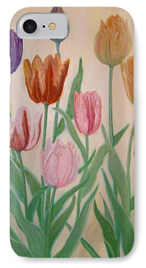 Flowers Of Spring IPhone 7 Case featuring the painting Tulips by Ben Kiger