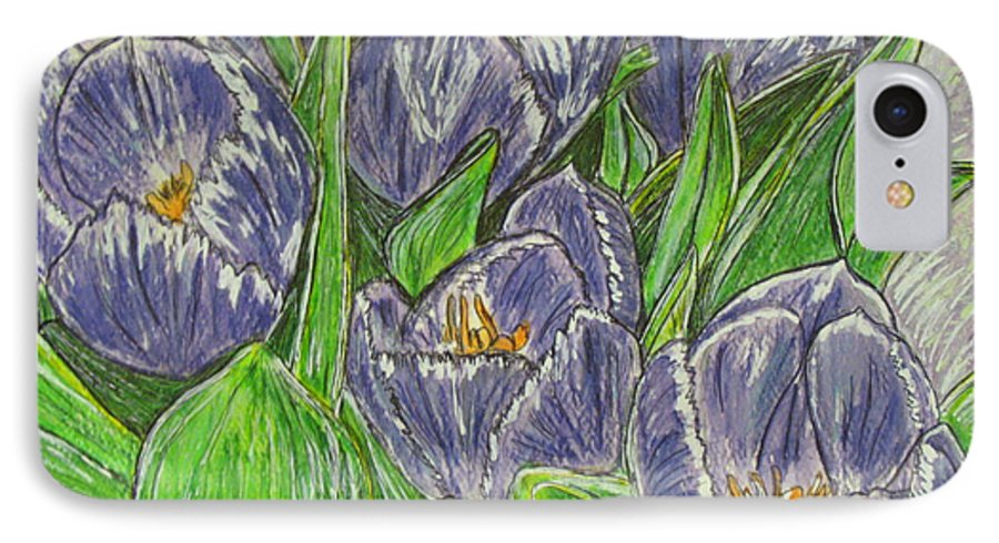 Tulips IPhone 7 Case featuring the painting Tulips In The Spring by Kathy Marrs Chandler