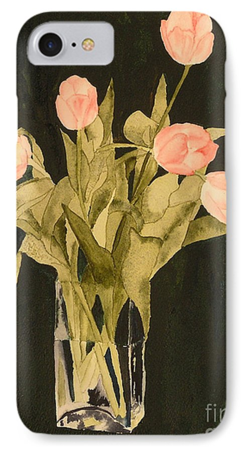 Tulips IPhone 7 Case featuring the painting Tulips On Velvet by Louise Magno