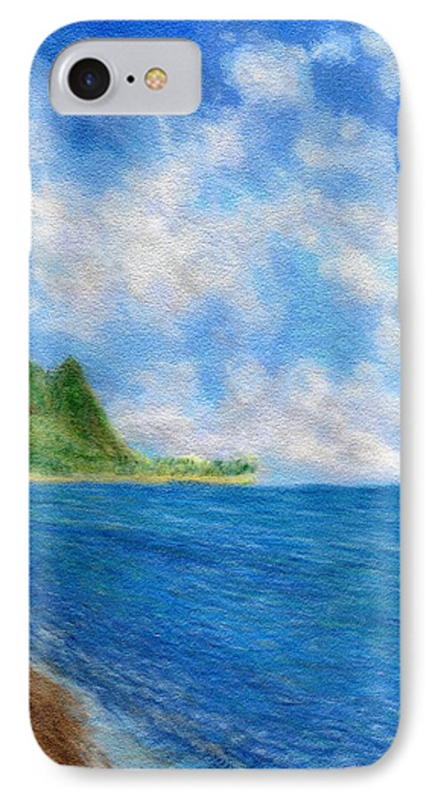 Rainbow Colors Pastel IPhone 7 Case featuring the painting Tunnels Beach Sky by Kenneth Grzesik