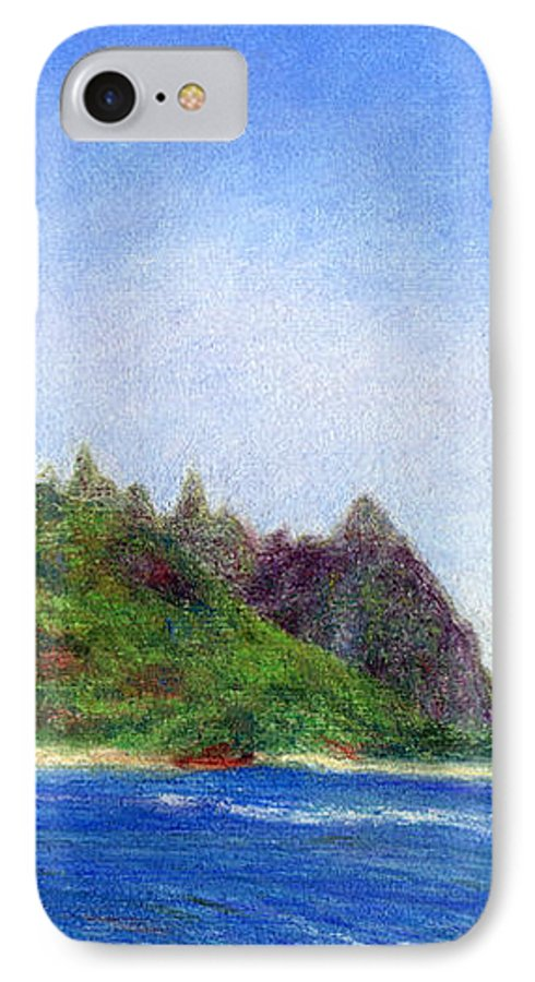 Rainbow Colors Pastel IPhone 7 Case featuring the painting Tunnels Beach View by Kenneth Grzesik