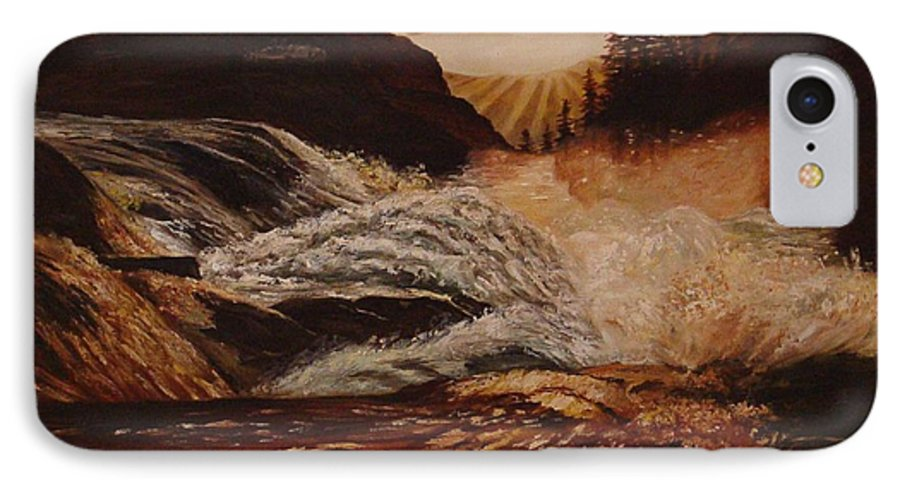 Water IPhone 7 Case featuring the painting Turbulent Waters by Quwatha Valentine