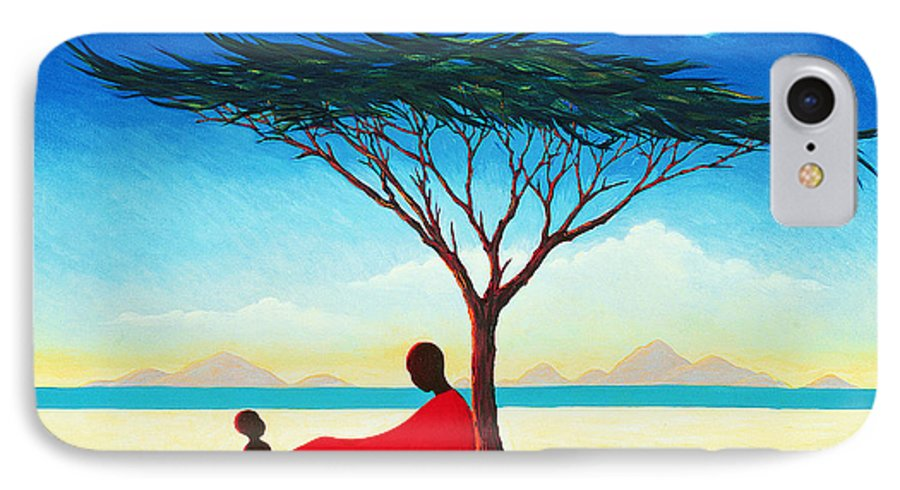 Landscape; Heat; Mother And Child; Resting; Negress; Shadow; Shade; Cloud; Peaceful; Calm; African; Africa; Afternoon; Woman; Blue Sky; Mountain; Mountains; Tree IPhone 7 Case featuring the painting Turkana Afternoon by Tilly Willis