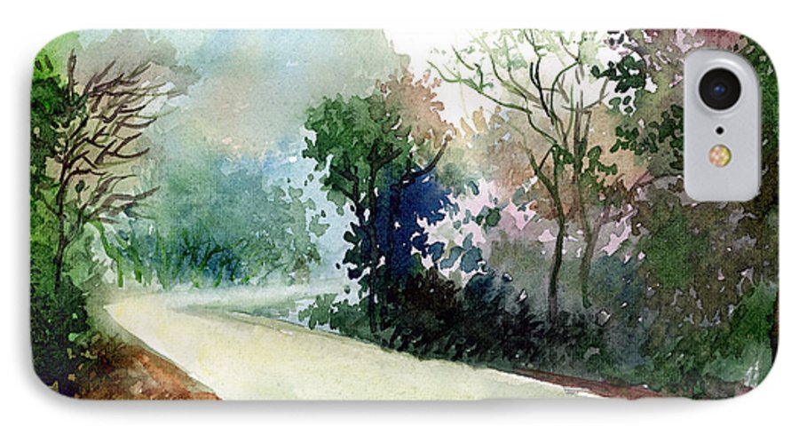 Landscape Water Color Nature Greenery Light Pathway IPhone 7 Case featuring the painting Turn Right by Anil Nene