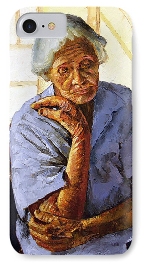 Old Woman IPhone 7 Case featuring the painting Turning Inward by John Lautermilch