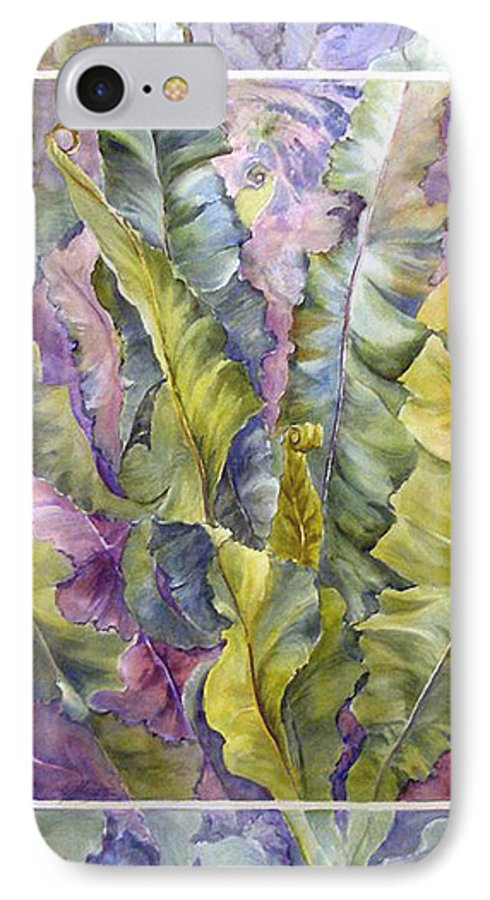Ferns;floral; IPhone 7 Case featuring the painting Turns Of Ferns by Lois Mountz