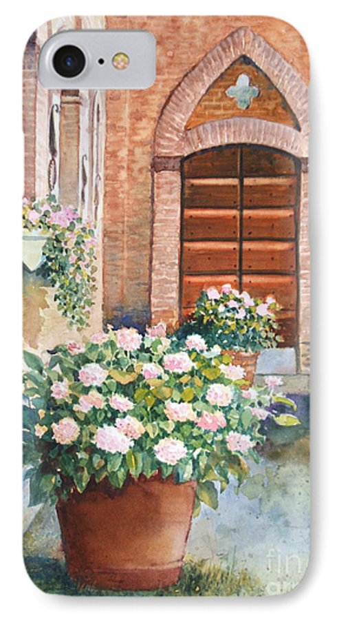 Tuscan IPhone 7 Case featuring the painting Tuscan Courtyard by Ann Cockerill