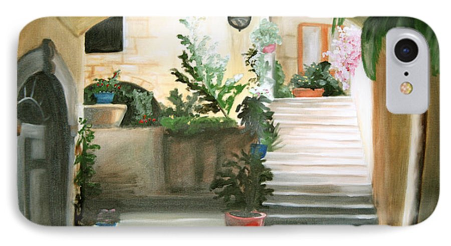 Portrait IPhone 7 Case featuring the painting Tuscan Courtyard Detail by Maryn Crawford