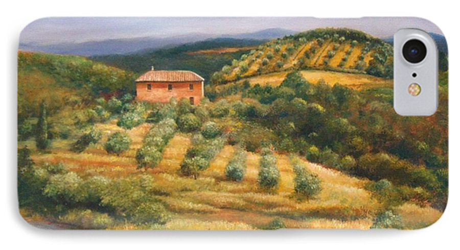 Landscape IPhone 7 Case featuring the painting Tuscan Summer by Ann Cockerill