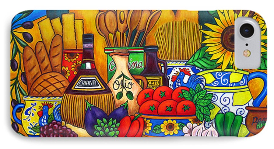 Still Life IPhone 7 Case featuring the painting Tuscany Delights by Lisa Lorenz