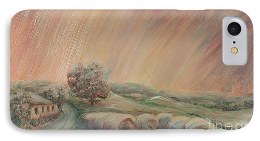 Landscape IPhone 7 Case featuring the painting Tuscany Hayfields by Nadine Rippelmeyer