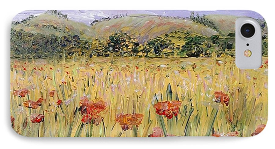 Poppies IPhone 7 Case featuring the painting Tuscany Poppies by Nadine Rippelmeyer