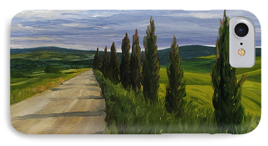 IPhone 7 Case featuring the painting Tuscany Road by Jay Johnson