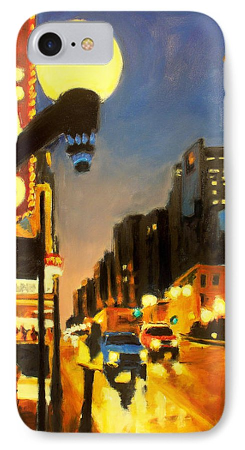 Rob Reeves IPhone 7 Case featuring the painting Twilight In Chicago - The Watcher by Robert Reeves