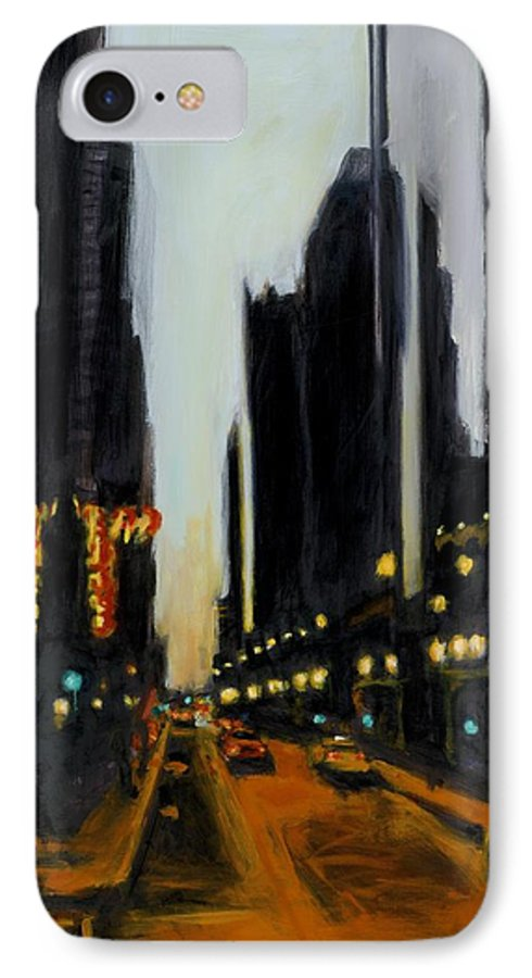Rob Reeves IPhone 7 Case featuring the painting Twilight In Chicago by Robert Reeves