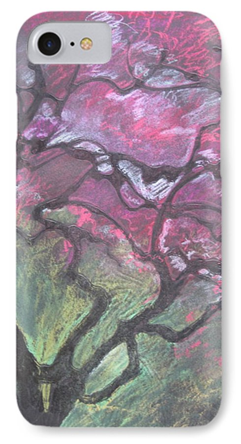Pastel IPhone 7 Case featuring the drawing Twisted Cherry by Leah Tomaino