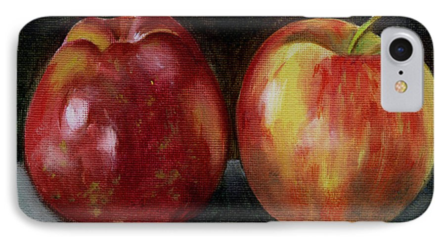 Oil IPhone 7 Case featuring the painting Two Apples by Sarah Lynch