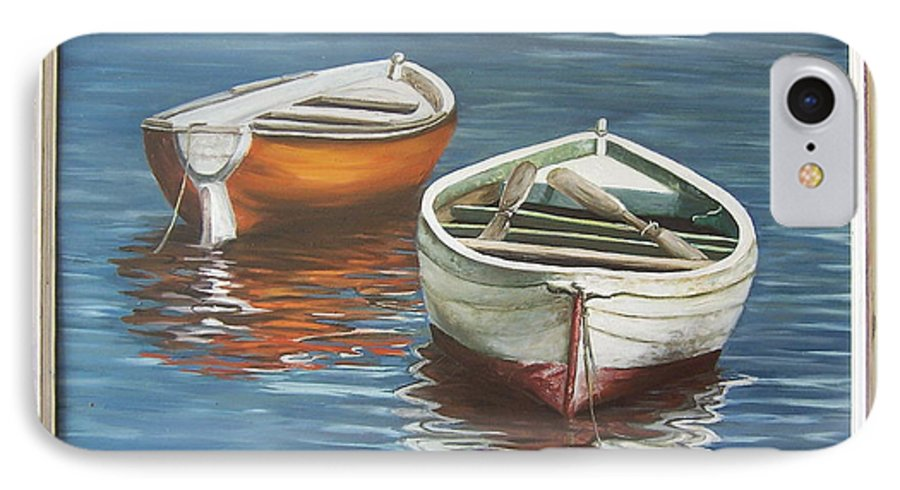 Boats Reflection Seascape Water Boat Sea Ocean IPhone 7 Case featuring the painting Two Boats by Natalia Tejera