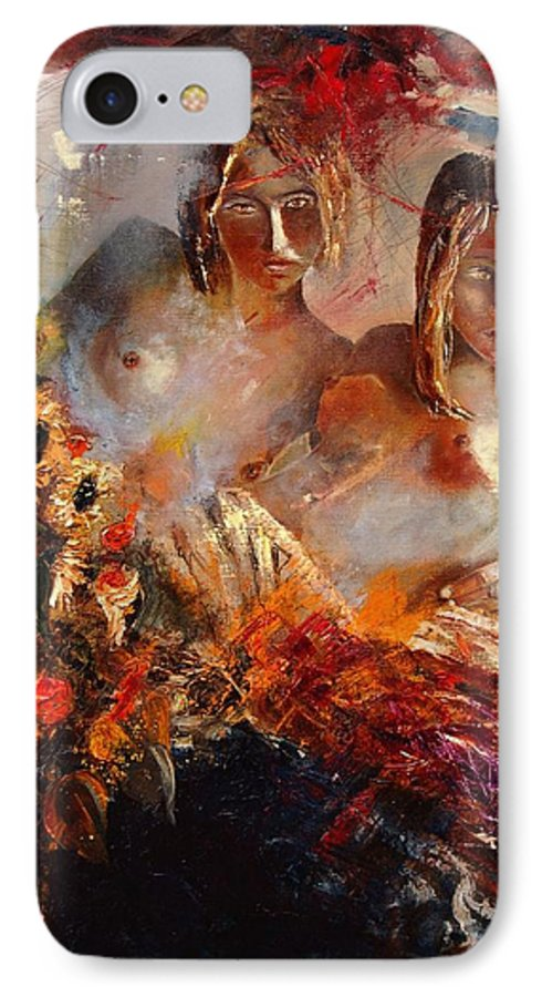 Girl Nude IPhone 7 Case featuring the painting Two Friends by Pol Ledent
