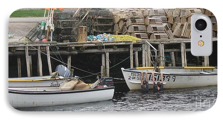 Photograph Atlantic Ocean Water Sea Swimming Girl Summer Newfoundland Bonnebay Boat Lobster IPhone 7 Case featuring the photograph two girls swimming in the Atlantic Ocean by Seon-Jeong Kim