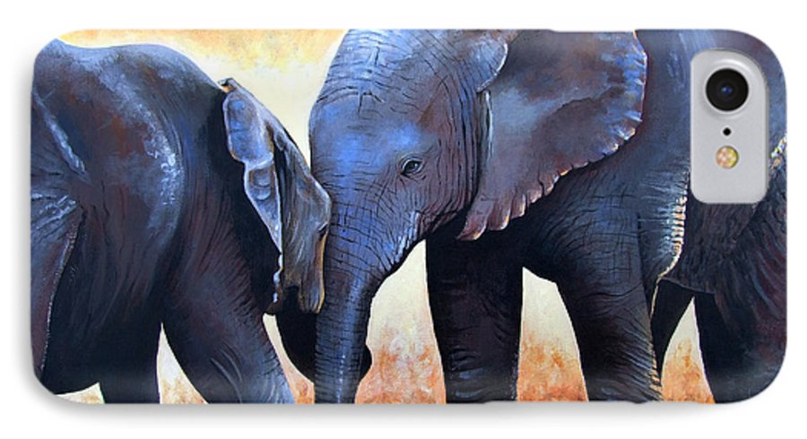 Elephants IPhone 7 Case featuring the painting Two Little Elephants by Paul Dene Marlor