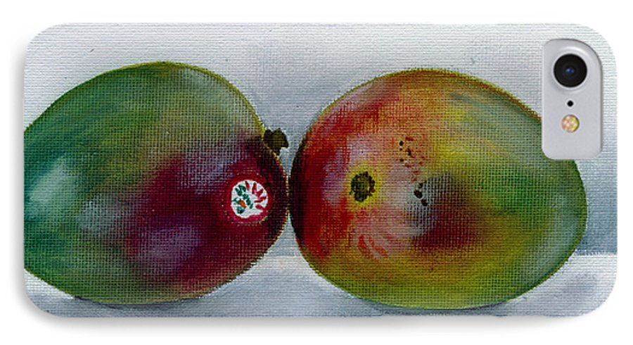 Still-life IPhone 7 Case featuring the painting Two Mangoes by Sarah Lynch