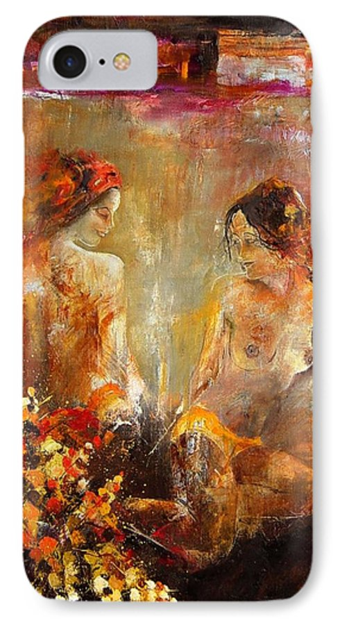 Girl Nude IPhone 7 Case featuring the painting Two Nudes by Pol Ledent