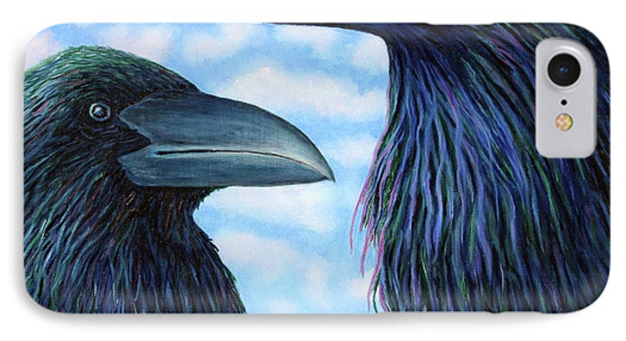 Raven IPhone 7 Case featuring the painting Two Ravens by Brian Commerford
