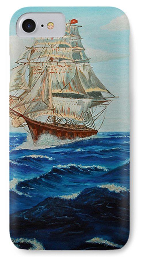 Ship IPhone 7 Case featuring the painting Two Ships Sailing by Quwatha Valentine
