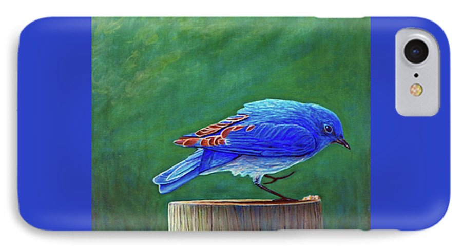 Bluebird IPhone 7 Case featuring the painting Two Step by Brian Commerford