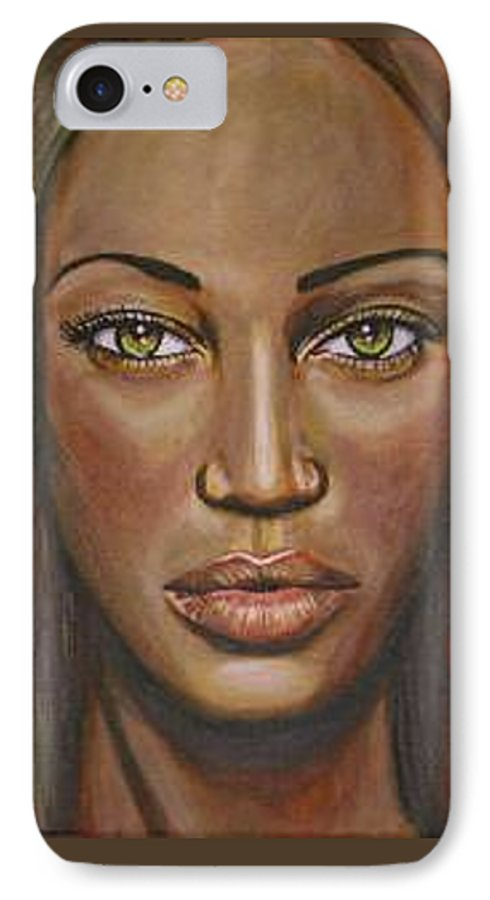 Woman IPhone 7 Case featuring the painting Tyra by Sarah-Lynn Brown