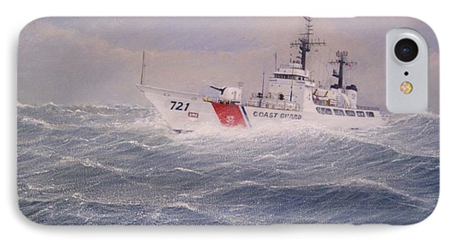 Ship IPhone 7 Case featuring the painting U. S. Coast Guard Cutter Gallitin by William H RaVell III