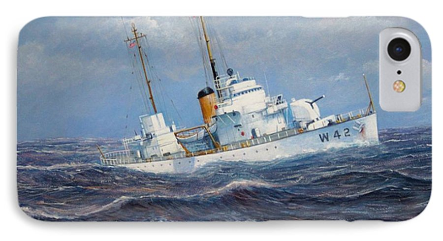 Marine Art IPhone 7 Case featuring the painting U. S. Coast Guard Cutter Sebago Takes A Roll by William H RaVell III