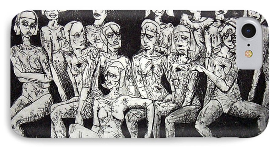 Etching IPhone 7 Case featuring the print Ugly Girls by Thomas Valentine