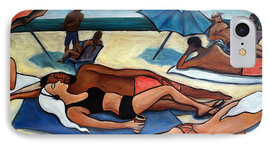 Beach Scene IPhone 7 Case featuring the painting Un Journee A La Plage by Valerie Vescovi