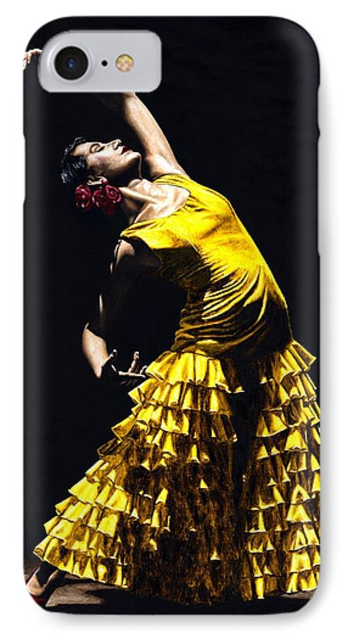 Flamenco IPhone 7 Case featuring the painting Un Momento Intenso Del Flamenco by Richard Young