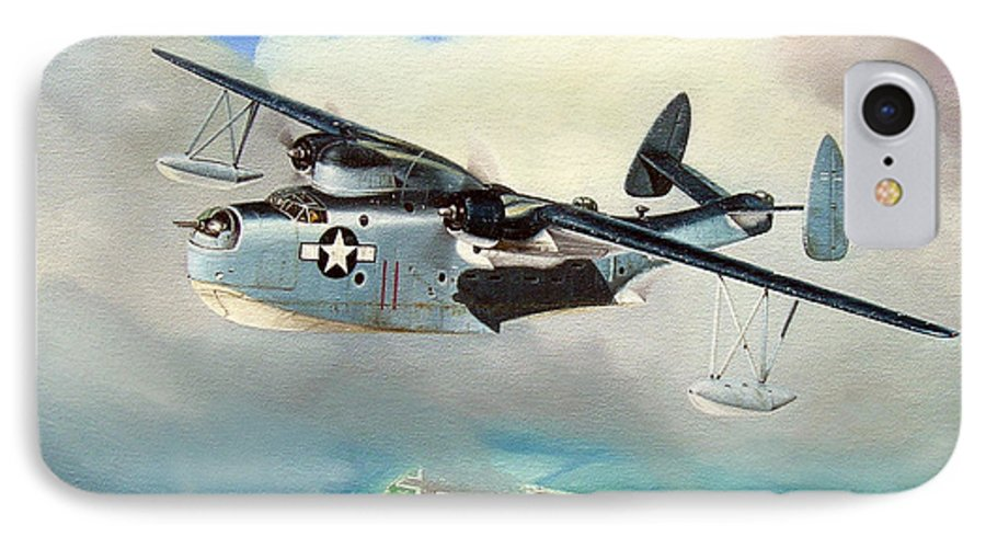 Military IPhone 7 Case featuring the painting Uncle Bubba's Flying Boat by Marc Stewart