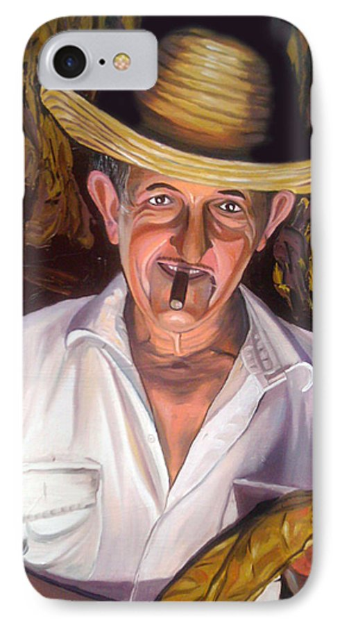 Cuban Art IPhone 7 Case featuring the painting Uncle Frank by Jose Manuel Abraham