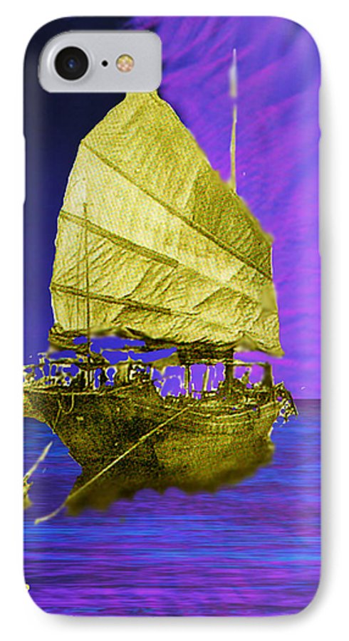 Nautical IPhone 7 Case featuring the digital art Under Golden Sails by Seth Weaver