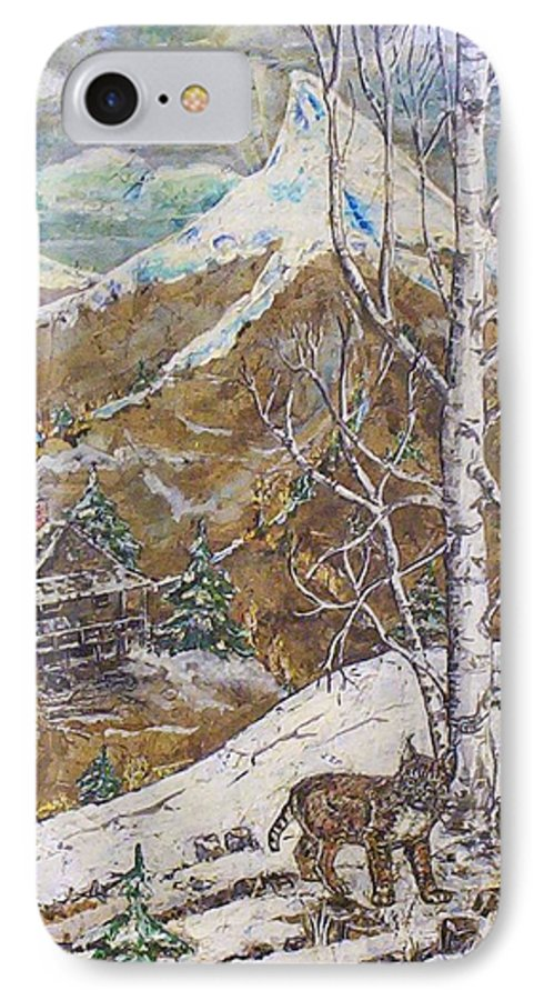 Snow Scene IPhone 7 Case featuring the painting Unexpected Guest I by Phyllis Mae Richardson Fisher