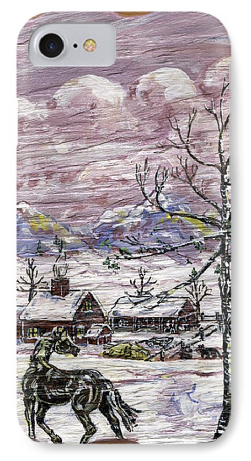 Snow Scene IPhone 7 Case featuring the painting Unexpected Guest II by Phyllis Mae Richardson Fisher