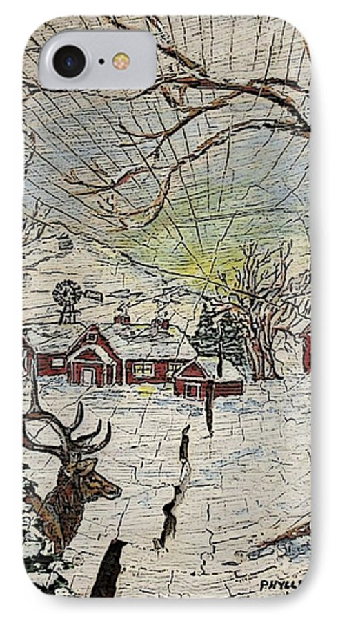 Elk IPhone 7 Case featuring the painting Unexpected Guest IIi by Phyllis Mae Richardson Fisher