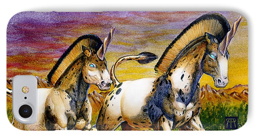Artwork IPhone 7 Case featuring the painting Unicorns In Sunset by Melissa A Benson