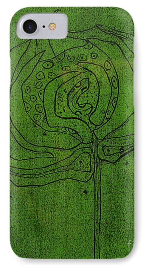 Green IPhone 7 Case featuring the painting Untitled by Angela Dickerson
