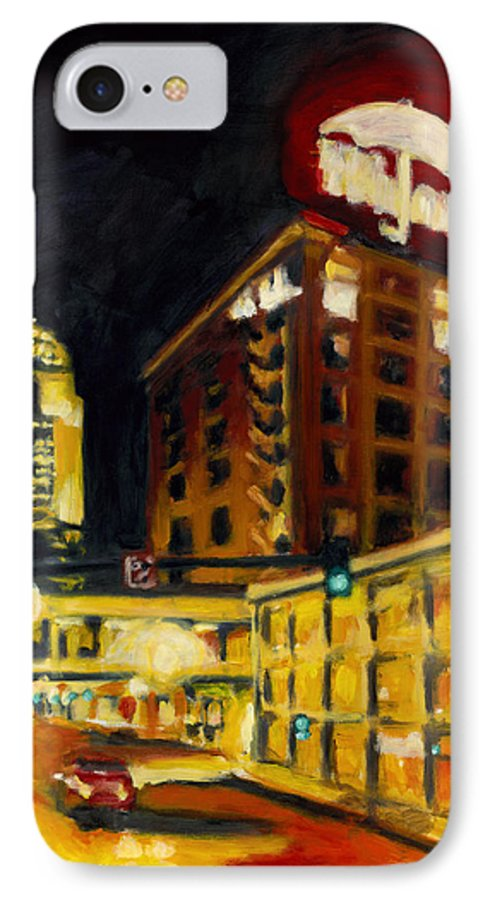 Rob Reeves IPhone 7 Case featuring the painting Untitled In Red And Gold by Robert Reeves