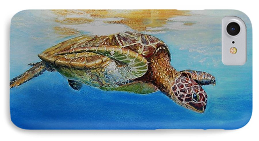 Wildlife IPhone 7 Case featuring the painting Up For Some Rays by Ceci Watson