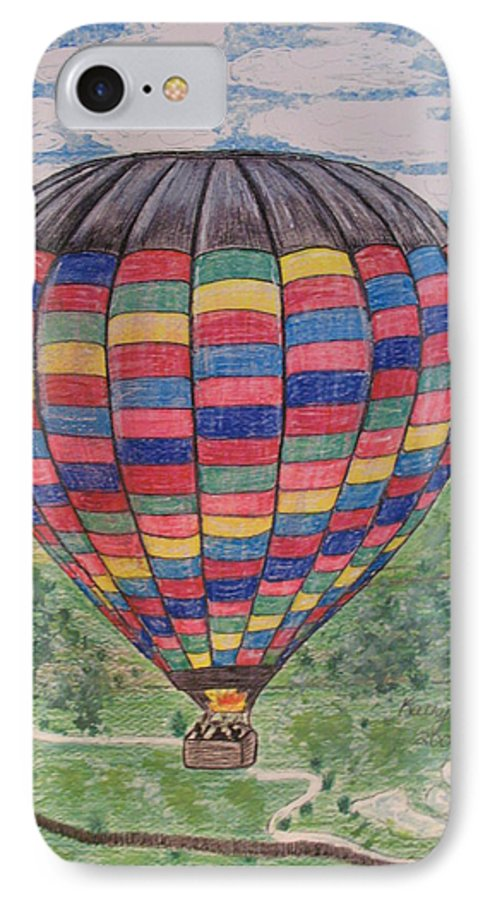 Balloon Ride IPhone 7 Case featuring the painting Up Up And Away by Kathy Marrs Chandler