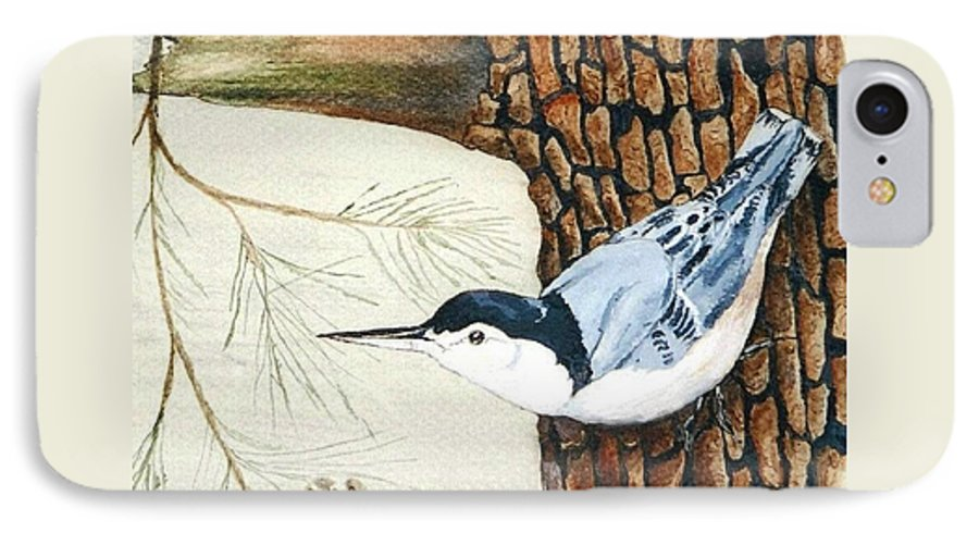 Nuthatch IPhone 7 Case featuring the painting Upside Down by Debra Sandstrom